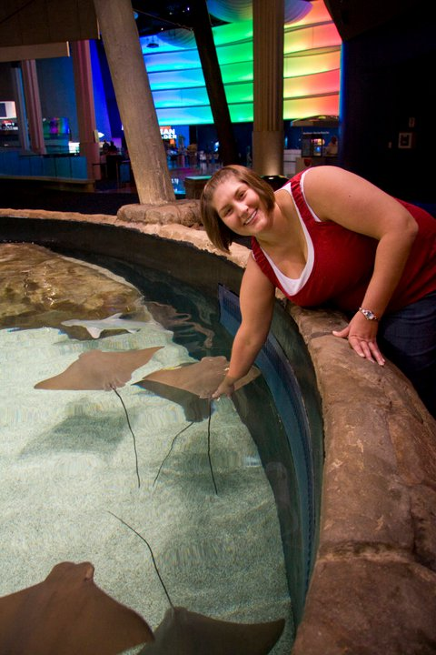 My sister, Jen, touching a stingray © Holly Hildreth 2011